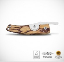 LES FINES LAMES - La Petite - TATTOO Series - SNAKE BLADE - MARBLWOOD HANDLE - with leather case