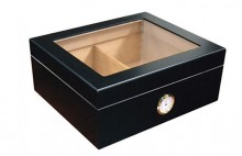 Humidor Black Glass Top 25 Cigar Capacity with Humidifier