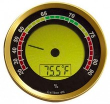 Round Digital Hygrometer w/ Calibration Feature (Gold)