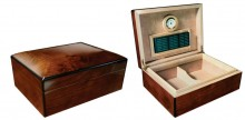 High Gloss Walnut Burl Finish Arched Top Humidor 75 cigar capacity