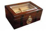 BEVELED GLASS TOP HUMIDOR WITH EXTERNAL HYGRO 100 COUNT
