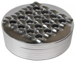 Polished Metal Handcrafted Round Grid Cigar Ashtray - Removable Top