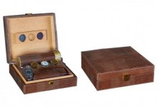 Brown Leather Gifts Set Humidor Capacity 20 Cigar