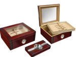 Two Tone Cherry & Rosewood Set with Ashtray Humidor 50 cigar capacity