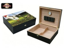 9 IRON 3D GOLF SCENE - 75 COUNT HUMIDOR W/ SATIN FINISH