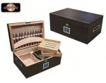 ROCKERFELLER 130 COUNT EBONY MATTE HUMIDOR W/ BUILT IN CIGAR DISPLAY IN LID