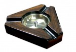 3 CIGAR DARK MAPLE & BlLACK LACQUER TRIANGULAR ASHTRAY