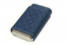 3 Cigar Diamond Stitch Leather Case Blue
