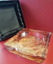Tobacco Leaf Crystal 4-Finger Ashtray