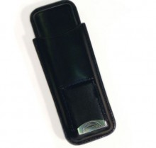 2 Finger Leather case with cutter Black