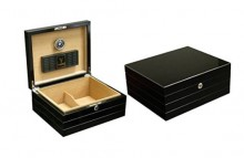 High Gloss Black Humidor 50 cigar capacity