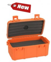 Cigar Caddy 15 Cigar Capacity Orange Rubber coated Travel Humidor