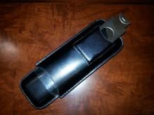 Prestige 2 Finger Leather Cigar Case with Cutter - Black