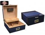 HAMPTON 200 COUNT ROYAL BLUE HUMIDOR W/ DIAMOND PATTERN LEATHER TOP