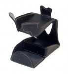 Savinelli Black/Brown Single Leather Pipe Stand w/accessory compartment - (Italy) NEW
