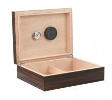Exotic Ebony 25-50ct. Humidor with Humidifier & Hygrometer