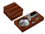 FOLDING ASHTRAY SET WALNUT WITH ACCESSORIES