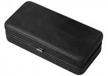 3 CIGAR FOLDING LEATHER TRAVEL CASE W/ CUTTER (BLACK)