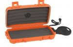 Cigar Caddy 5 Cigar Capacity Orange Rubber coated Travel Humidor