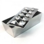 Polished Aluminum Rectangular Grid Cigar Ashtray - Removable Top