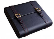 BLACK LEATHER TRAVEL HUMIDOR 20 CIGAR CAPACITY
