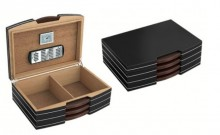 Carlton 100 Count Polished Steel Accented Black Humidor w/ Silver Hardware