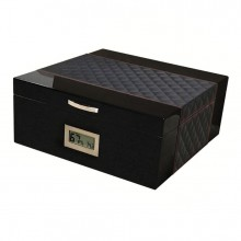 HAMPTON 200 COUNT BLACK HUMIDOR W/ DIAMOND PATTERN LEATHER TOP