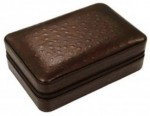 BROWN Ostrich Motif 4-8 ct travel cigar humidor with humidifier, cutter & lighter.