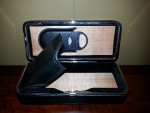Prestige 3 Finger Folding Leather Cigar Case with Cutter - Black/Blown