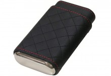 3 Cigar Diamond Stitch Leather Case Black